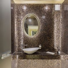 You can't go wrong with glass mosaic tiles. Add the curved edges and you have a simple but yet elegant bathroom. #dconcept #bathroom #design #designer #deco #spa #interiordesign #decor #home #rashabeauty dconcept.ro