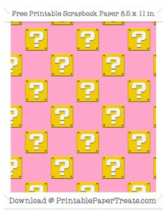 Free Carnation Pink Large Mario Question Box Pattern Paper - Super Mario Bros