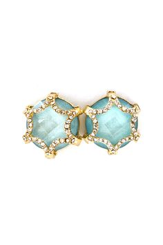 Crystal Chloe Earring in Prussian Blue Shimmer on Emma Stine Limited