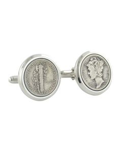 Mercury+Dime+Cuff+Links+by+David+Donahue+at+Neiman+Marcus.
