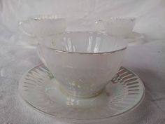 3 Sets Federal Iridescent Moonglow Tea Coffee Cups & Saucers #Federalheatproffmarked
