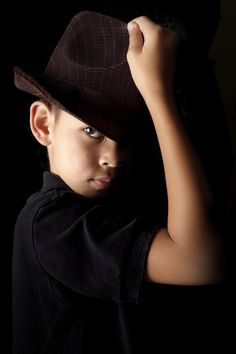 The boy with the Hat by Annemarie Rulos - vd Berg on Dark Photography, Creative Photography, Portrait Photography, Studio Shoot, Kids Hats, Studio Portraits, Low Key, Music Lovers, Family Photos