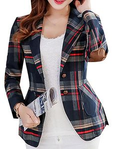 761d29dbc94 Fubotevic Womens Long Sleeves OL Business Plaid Formal Blazer at Amazon  Women s Clothing store