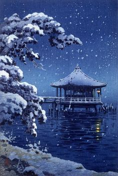 Koitu Tuchiya, Floating Pavillion of Katada in Snow (1934) color woodcut on…