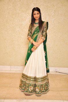 Classy Elegance in White, Green and  Gold Lehenga