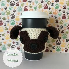 This Pug crochet pattern will allow you to create this adorable cozy which will keep your coffee hot and your fingers cool! You do not need to be an experienced crocheter, I include lots of pictures and Angels Tips to make this an easy and fun project to do! It is easy to customize as well, simply choose your yarn colors accordingly! The cozy slides up your travel mug for a snug fit around the middle. It will stretch to fit most cup sizes. The cozy also looks adorable on water bottles, candy…