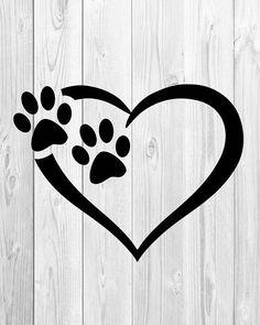 Paw print heart. Dog clip art royalty