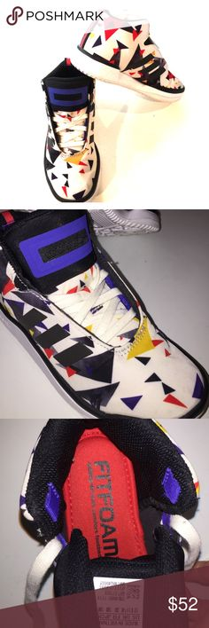 RARE adidas kids shoes For the hip kid for sure!! These are awesome adidas semi high tops with AMAZING foamfit imsoles. My son wore them once to Disneyland but they were gifted a half a size to small at the time. They are kids size 12, unisex designs. Adidas Shoes Sneakers