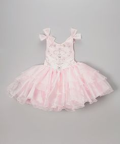 Another great find on #zulily! Pink Bow Shoulder Tiered Dress - Infant, Toddler & Girls by Angels New York #zulilyfinds