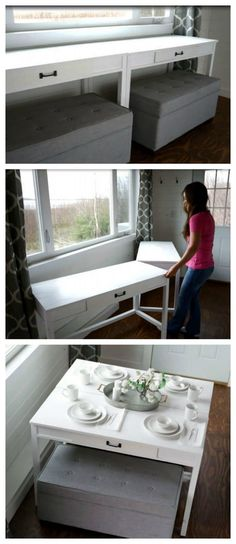 Convertible Desk--Space Saving Idea Space Saver: DIY Convertible Desk for Tiny HouseSpace Saver: DIY Convertible Desk for Tiny House Furniture Plans, Small Space Living, Tiny Spaces, Small Apartments, Little House, Built In Desk, Tiny House Storage, Convertible Desk, Home Decor