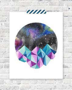 Geometric Mountains Art Print  Galaxy Sky by StarandArrowDesigns, $15.00