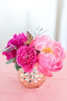 Pop of pink centerpieces