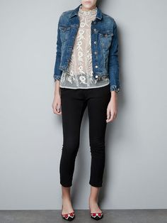For weekend evenings, layer a casual denim jacket over capris or a dress for an easy-going, movie date.      $79.90; zara.com