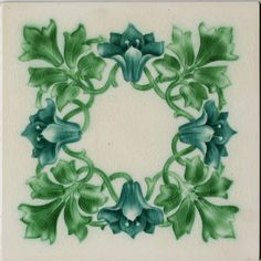 c.1913 English floral art tile, Pilkingtons