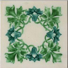c.1913 English floral art tile, Pilkingtons