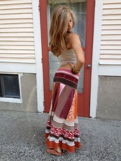 Looove her shop...amazing work..Talented fo sho. ,Eco long boho Skirt, clothing, upcycled, patchwork, festival, hippie, red, orange and brown mix, size M by Zasra. $125.00, via Etsy.