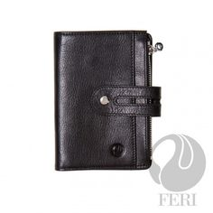 FERI Wallet - Warren - Wallet - Black - Small brown wallet - Made from high grade leather - Single fold closure with snap - 1 zippered slot Napa Leather, Italian Leather, Leather Purses, Leather Wallet, Purse Wallet, Coin Purse, Designer Wallets, Designer Handbags, Hidden Compartments
