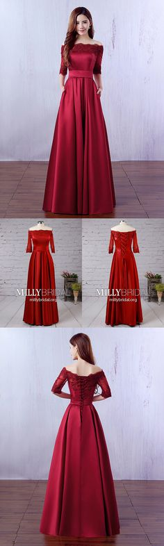Long Prom Dresses For Sleeves,Burgundy Prom Dresses Lace,A-line Prom Dresses Off-the-shoulder,Satin Prom Dresses Modest