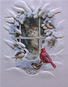 Could use the MB/PS Madison window die and an assortment of the small Resting Birds from MB, too. Maybe use the Cheery Lynn Pine Boughs outside window for the birds?
