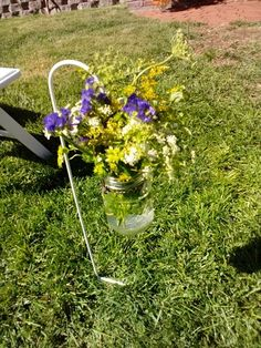 Aisle flowers in hanging mason jars Aisle Flowers, Wedding Flowers, Hanging Mason Jars, Florals, Wreaths, Plants, Decor, Hanging Jars, Floral
