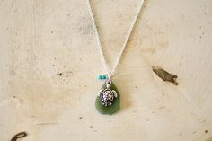 Olive Green Turtle Seaglass Necklace