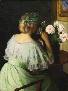 """pintoras: """"Lilla Cabot Perry (American, 1848 – 1933): The scent of roses (via Sotheby's) """""""