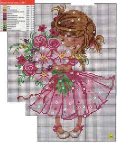 Cross-stitch Little Girl with Flowers, part 2...   Gallery.ru / Фото #1 - 7…
