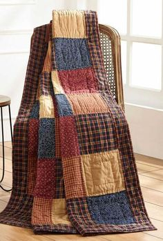 Old Glory Patchwork Quilted Throw, by Olivia's Heartland. Warm your home with this beautiful country patchwork quilt, add to a chair, hang on the wall, or lay over a sofa! Colchas Country, Country Quilts, Flannel Quilts, Plaid Quilt, Denim Quilts, Cotton Quilts, Quilted Throw Blanket, Patchwork Blanket, Weighted Blanket