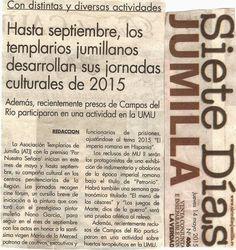 BLOG TEMPLARIOS DE JUMILLA: INICIO DE LAS ACTIVIDADES 2015