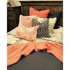 Don't these coral pillows and throw give you a little burst of energy? Come shop Layers Beautiful Bedding today to find a burst of energy for your space! {Layers Beautiful Bedding}  #coral #gardnervillage #layersbeautifulbedding #quilt #throwpillow #dreambedding