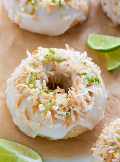 Fluffy and flavorful Key Lime Coconut Donuts are baked, not fried, and ready in less than 30 minutes!