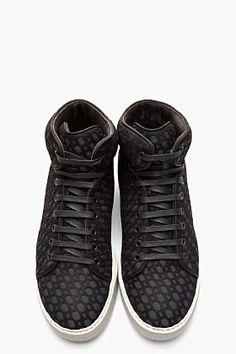 LANVIN //  BLACK & CHARCOAL LASER CUT MID-TOP SNEAKERS   SS13 #Menswear inspirations www.eff-style.com