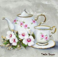 Tea Art, Painting Inspiration, Tea Cups, Tableware, Painting On Fabric, Drawings, Ideas, Log Projects, Dinnerware