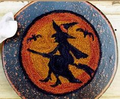 Halloween witch fall punch needle pattern