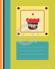 Cover bright template with cupcake