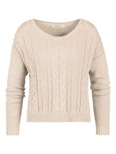 Sandwich Cable Wide Pullover in light mushroom