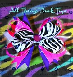 """Duck tape stacked hair bow zebra. """"All Things Duck Tape"""" by rena"""