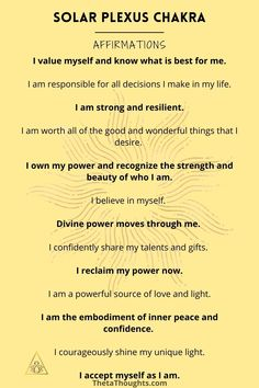 Chakra Affirmations, Positive Affirmations Quotes, Morning Affirmations, Affirmation Quotes, Solar Plexus Chakra, Manifestation Journal, Daily Inspiration Quotes, Love Yourself Quotes, Finding Peace