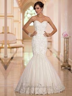 Elegant Sweetheart Handcrafted Lace Appliques Mermaid Designer Wedding Dresses