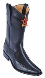 Men/'s Los Altos BLACK Genuine Deer Ankle Boots Charro Leather Welt Stitching D