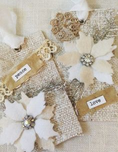 Gift Tags-Shabby Christmas Tags-Linen Tags