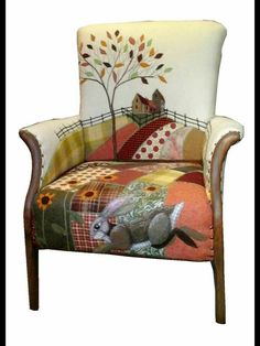 Textile Art Chairs and mixed media illustration by Carey Naughton for Rustique Interiors . Funky Furniture, Recycled Furniture, Upholstered Furniture, Unique Furniture, Furniture Makeover, Furniture Nyc, Furniture Movers, Country Furniture, Furniture Stores