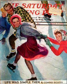 1940-Ice-Skating-Fun-Pairs-Winter-Wonderland-Vintage