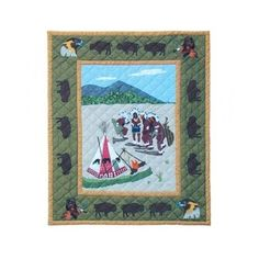Indian Dancers COTTON Throw Quilt 60x50 Bed Home Decor Patch Magic