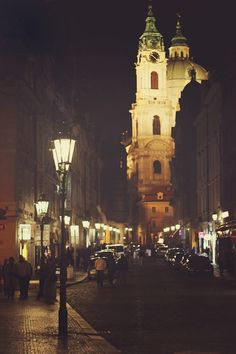 Prague street at night, Czech Republic Wonderful Places, Great Places, Beautiful Places, Amazing Places, Longboard Design, University Of Miami, Night City, Adventure Is Out There, Adventure Time