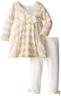 Amazon.com: Rare Editions Baby Baby Girls' Textured Knit Legging Set, Ivory, 24 Months: Clothing