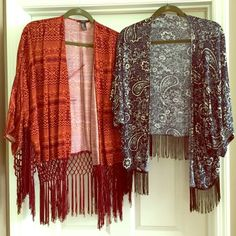 TWO Bohemian Fringe Cardigans Two super cute bohemian style cardigans. Beautiful fringe detailing on the maroon cardigan and simple fringe on the blue one. Maroon is forever 21 and medium, blue is Charlotte Russe and large but both fit me the same. Forever 21 Tops