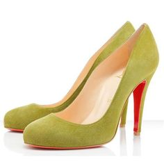 Yellow CL Ron Ron 100mm Suede Heels Pumps Closed-Toe