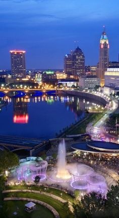 Columbus skyline and river at dusk