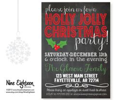 Christmas Party Invitation Holly Jolly Chalkboard by NineEighteen